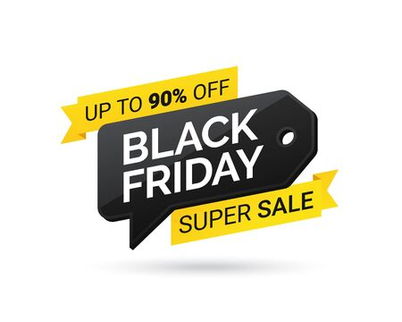 Sale tag. Super sale. Black Friday. Design element for sale banners, posters, cards. Promotional marketing discount event. Special offer on Black Friday. Vector illustration eps 10 免版税图像 - 132996879