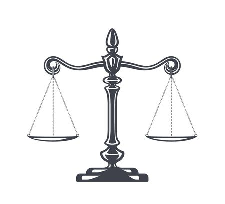 Scales of justice vector illustration. Weight Scales, Balance. Concept law and justice. Legal center or law advocate symbol. Libra in flat design. Juridical emblem for advocate or attorney office, counsel, notary company or judge prosecution court.