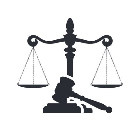 Law and justice concept. Gavel of the judge and scales of justice. Vector silhouette. Libra and gavel. Legal center or law advocate symbol. Juridical emblem for advocate or attorney office, counsel, notary company or judge prosecution court.