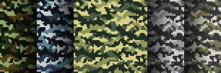 Five different colors seamless digital camouflage military pattern for background, clothing, textile garment, wallpaper. Vector illustration.