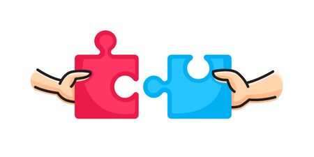 Hands putting two puzzle pieces together. Family concept. Business, teamwork and partnership concept. Vector illustration