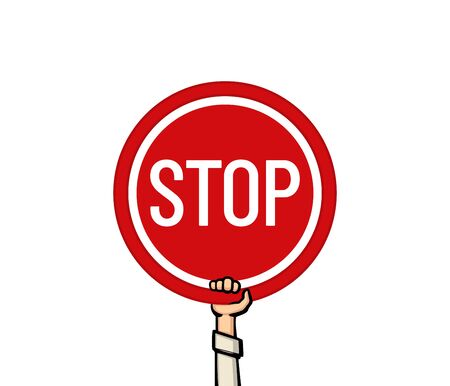 A hand holding a stop sign. Vector illustration.