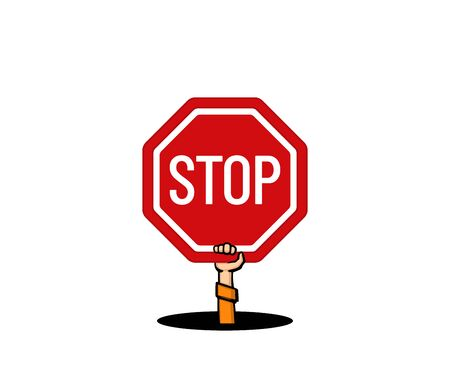 Hand out of the pit holds a stop sign on a white background. Vector illustration. 矢量图像