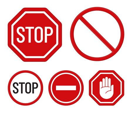 Set of prohibition signs isolated on a white background. Flat design. Stop symbols. Vector icons.
