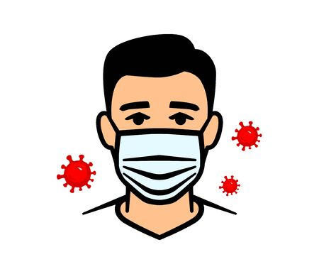 Man in protective mask against infectious diseases and flu. Face mask. Vector illustration.