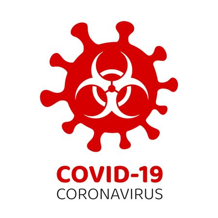 Covid-19 Coronavirus warning and attention icon. Covid-19 Biohazard warning sign. Coronavirus outbreak. Epidemic and pandemic symbol. Isolated vector.