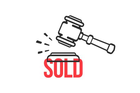 Auction vector symbol. Gavel making sound sold. Sold, hammer, auction, sale concept. 矢量图像