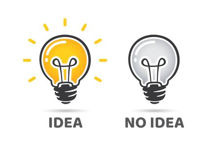 Idea and no idea concept. Light bulb vector icon. Bright idea symbol. Off light bulb, no idea symbol. Unique idea, creative thinking, opportunity, solution and success