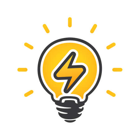 Sign of energy in light bulb. Electric power vector logo. Electricity icon. Isolated on a white background 矢量图像