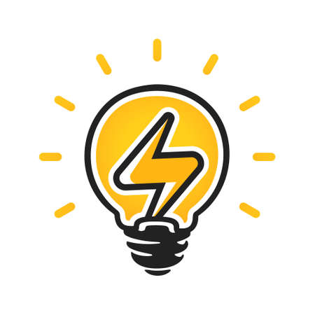 Sign of electricity in light bulb. Energy vector logo. Electricity icon. Isolated on a white background