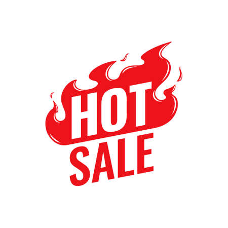 Hot Sale vector icon. Flat promotion fire banner, price tag, hot sale, offer, price. Season special offer banner. Isolated on a white background