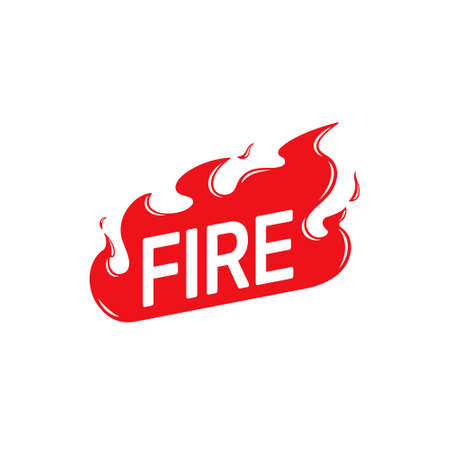 Fire vector icon isolated on white