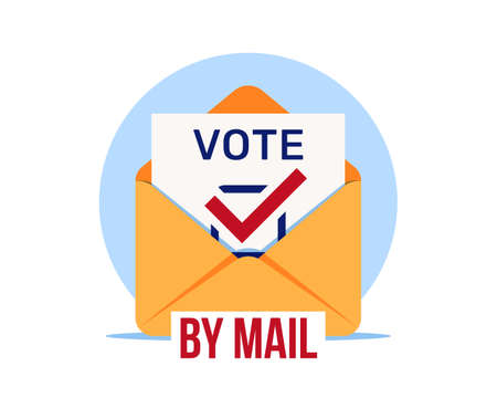 Vote by mail, vector icon. Distant voting. Open envelope with a ballot paper