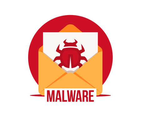Malware by email vector icon. Virus in the letter. Virus, malware, email fraud, e-mail spam, phishing scam, hacker attack concept