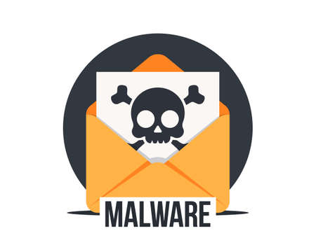 Email with malware, vector icon. Virus, malware, email fraud, e-mail spam, phishing scam, hacker attack concept. Opened mail envelope with infected file