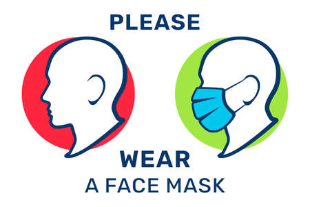 Please wear a face mask, vector illustration. Mask required, warning sign. Silhouette of a human's head in a medical mask 矢量图像