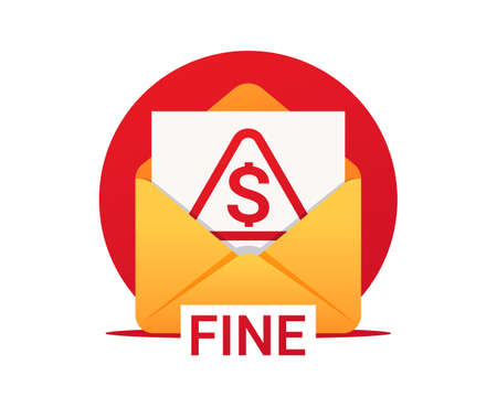 Fine by mail, vector icon. Envelope with a fine. Vector symbol of fine or penalty. Municipal tax or parking fee as penalty from authority Vettoriali