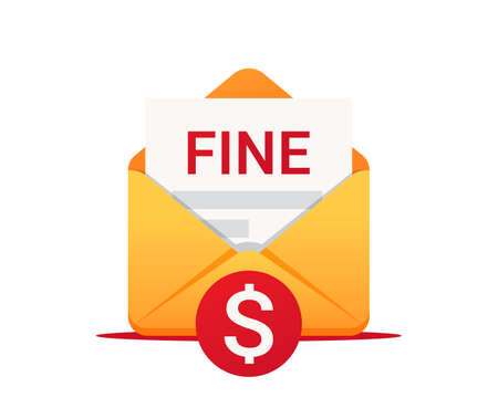 Fine by mail, vector icon. Punishment document in envelope. Vector symbol of fine or penalty. Municipal tax or parking fee as penalty from authority