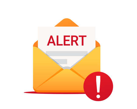 Alert message by email. Envelope with a alert. Vector icon. Virus, malware, email fraud, e-mail spam, phishing scam, hacker attack concept.