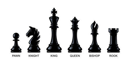 Chess pieces isolated on a white background.