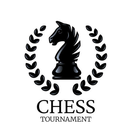 Chess tournament logo. Knight chess piece with a wreath isolated on white. Silhouette of a chess piece. Vector illustration