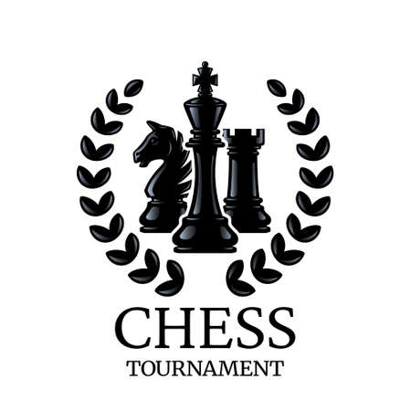 Chess tournament emblem. Chess Pieces King, Knight, Rook with a wreath. Silhouettes of chess pieces. Vector illustration isolated on white.