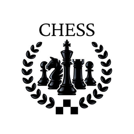 Chess emblem. Chess Pieces King, Knight, Rook, Pawns with a wreath. Silhouettes of chess pieces. Vector illustration isolated on white.