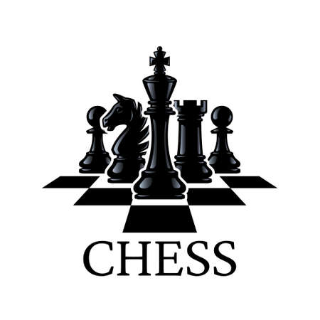 Chess pieces vector illustration. Chess Pieces: King, Knight, Rook, Pawns on a chessboard. Silhouettes of chess pieces. Isolated on a white background