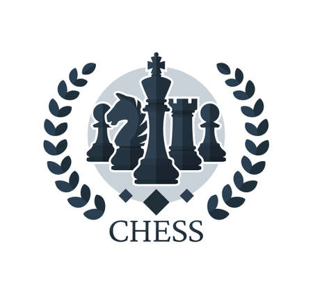 Chess vector emblem. Chess Pieces: King, Knight, Rook, Pawns with a wreath. Flat style. Vector illustration isolated on white background. Иллюстрация