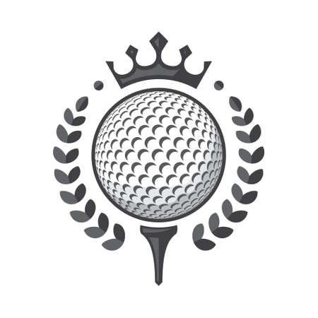 Golf ball on tee with wreath and crown. Vector illustration, isolated on a white background Иллюстрация