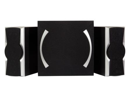 loud speakers: black music speakers isolated on white background