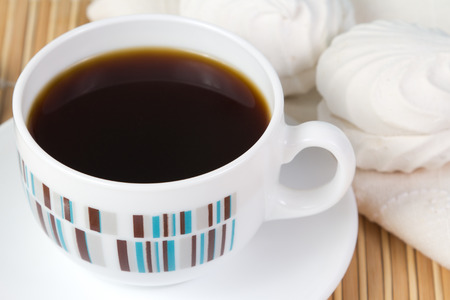 marshmallow: Cup of coffee and marshmallow Stock Photo