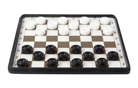 checkers: The classic checkers isolated on white background Stock Photo