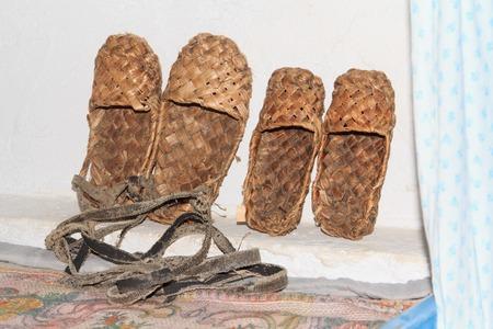 campesino: Calzado campesina rusa tradicional tejido de la corteza