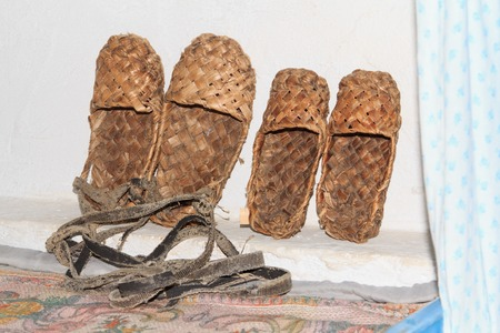 footwear: Russian traditional peasant footwear woven from bark Stock Photo