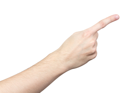strong arm: Close up male hand pointing isolated on white background