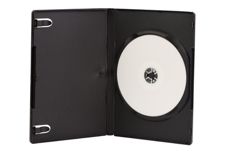 cd case: CD case with blank DVD disc isolated on white background