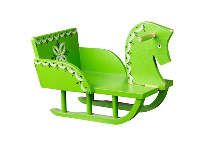 white winter: Childrens winter sleigh isolated on white background Stock Photo