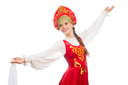 russian girl: beautiful smiling russian girl in folk costume isolated on white