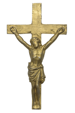redemption: Cross of Jesus Christ isolated on white background Stock Photo