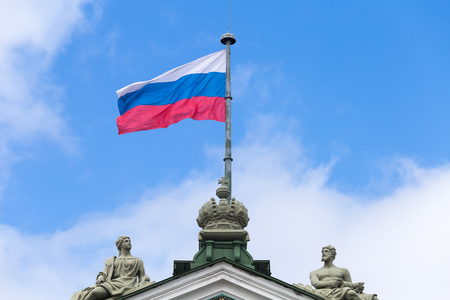 Flag of Russia on a building spire in Saint Petersburg Standard-Bild