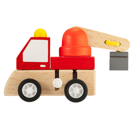 Wooden toy crane truck isolated on white background