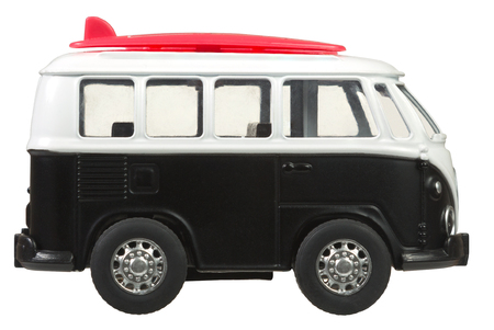 Mini van toy side view in retro style isolated on white background