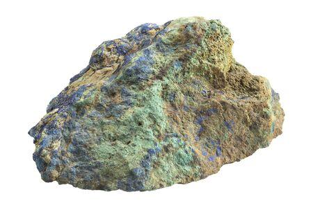 Malachite with Azurite isolated on white background