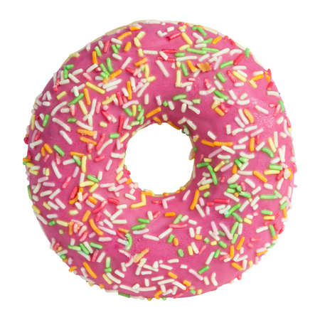 Pink donut with sprinkles isolated on white