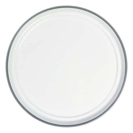 Empty white enamel plate isolated on white background. Top view.