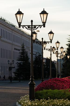 tatarstan: Old iron street lamps on a small street