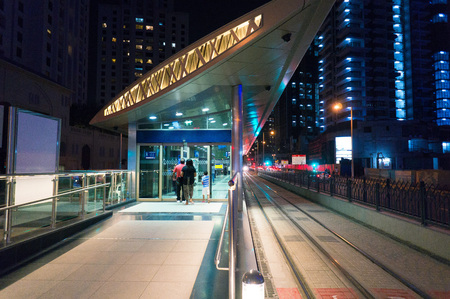 The ground pavilion in Dubai metro station Stock Photo