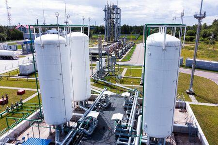 Aerial view of Liquid chemical tank terminal, Storage of liquid chemical and petrochemical products 版權商用圖片