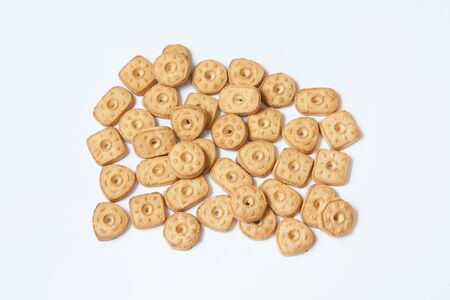 butter cookies different form on white background 版權商用圖片
